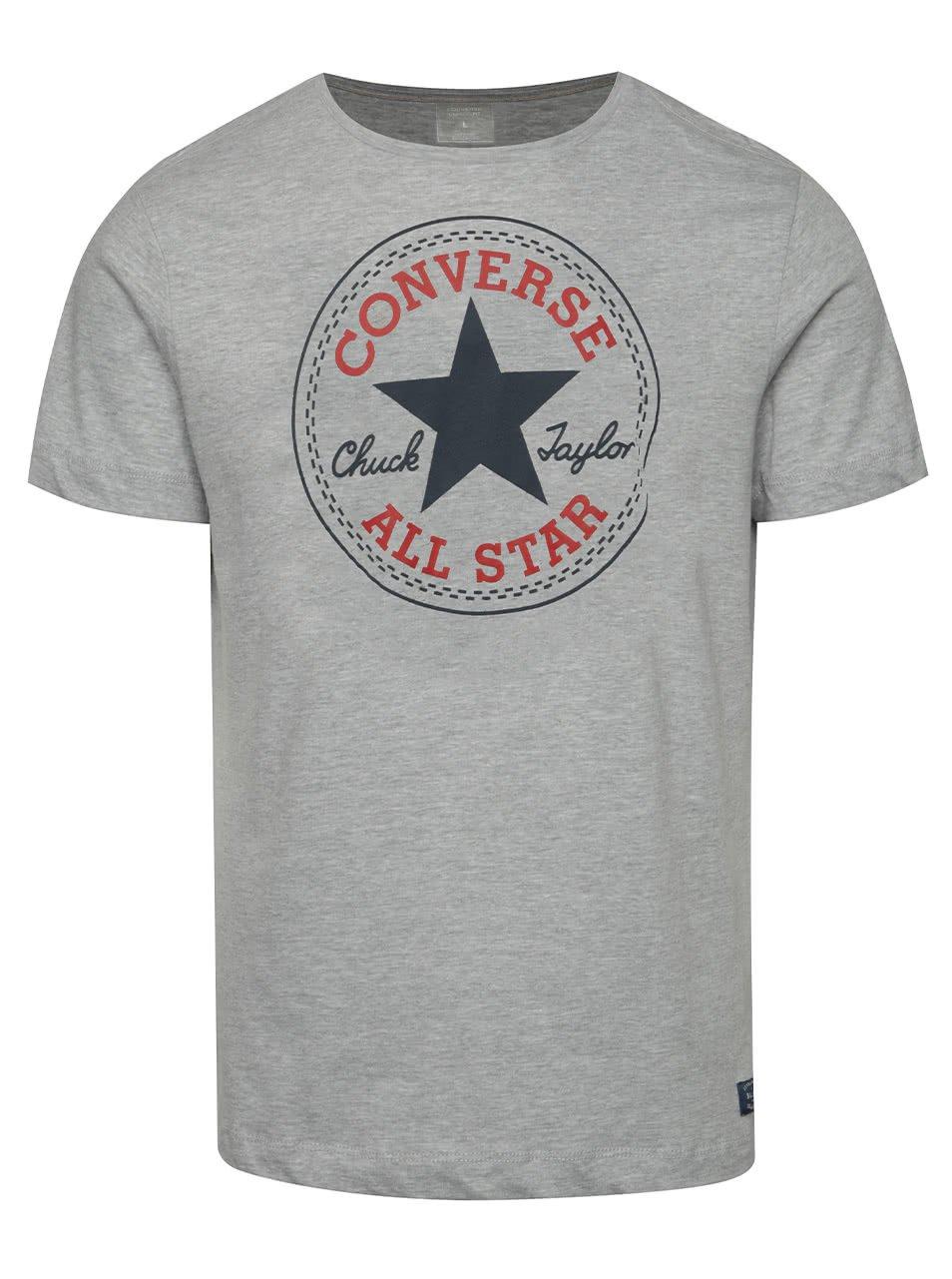Šedé pánské triko s potiskem Converse Core