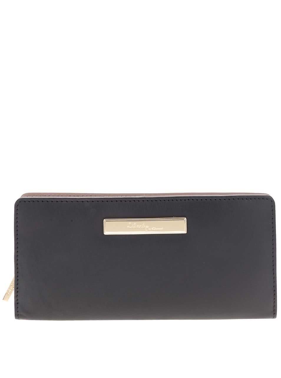 Černá kožená peněženka s detaily ve zlaté barvě Liberty by Gionni Drew