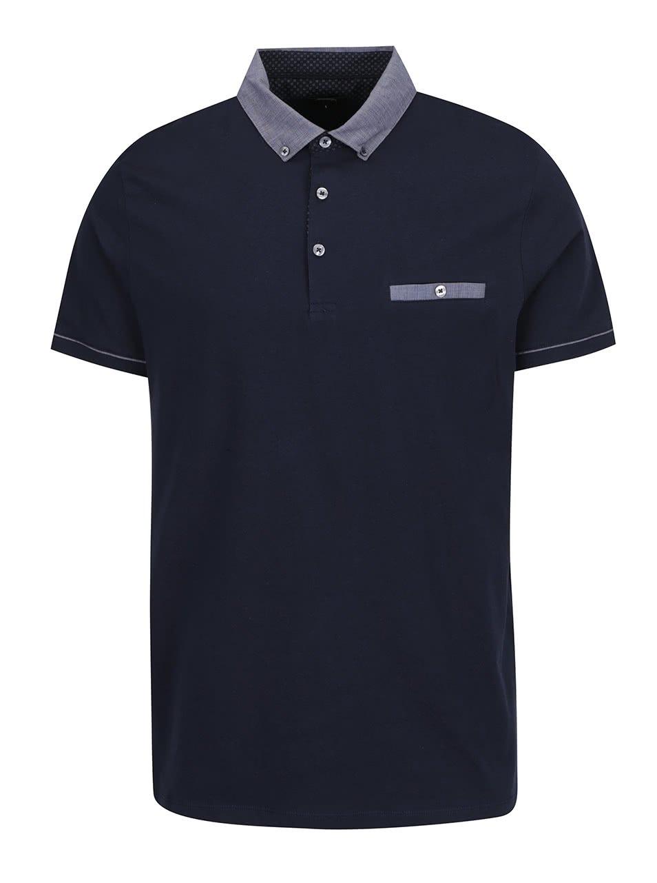 Tmavě modré pánské polo triko Burton Menswear London