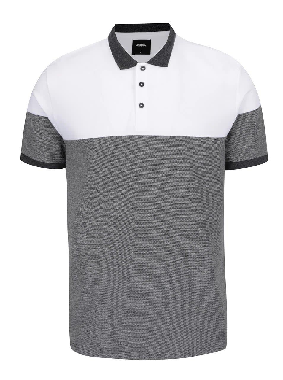 Bílo-šedé pánské polo triko Burton Menswear London