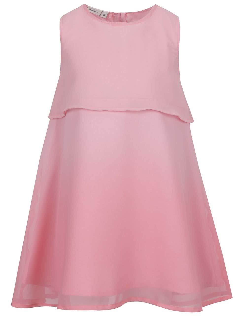 Růžové holčičí šaty bez rukávů name it Isabella