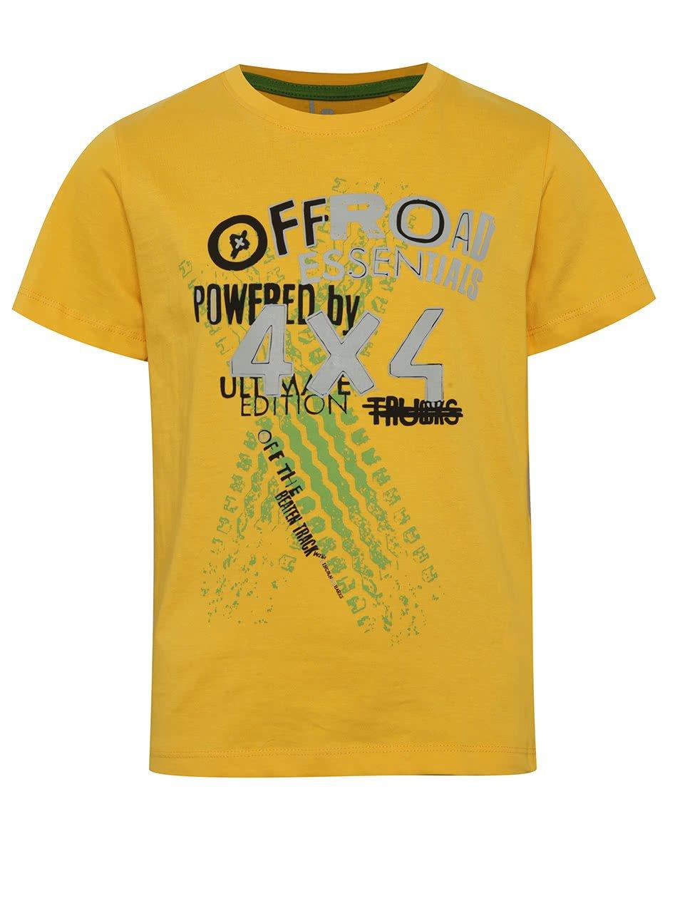 Žluté klučičí triko s potiskem a krátkým rukávem 5.10.15.