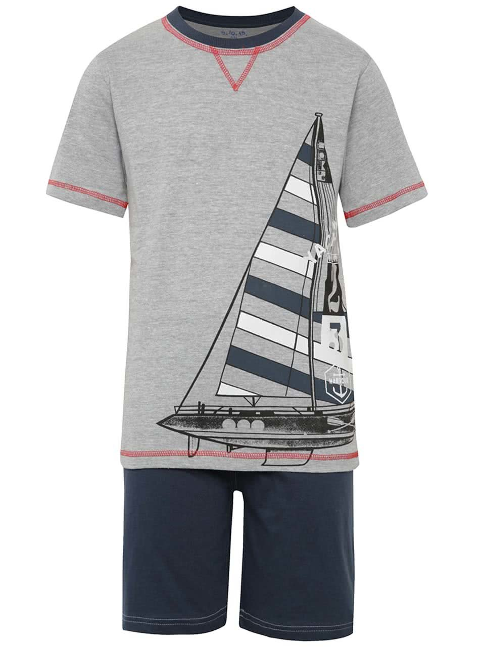Modro-šedé klučičí pyžamo s motivem plachetnice 5.10.15.