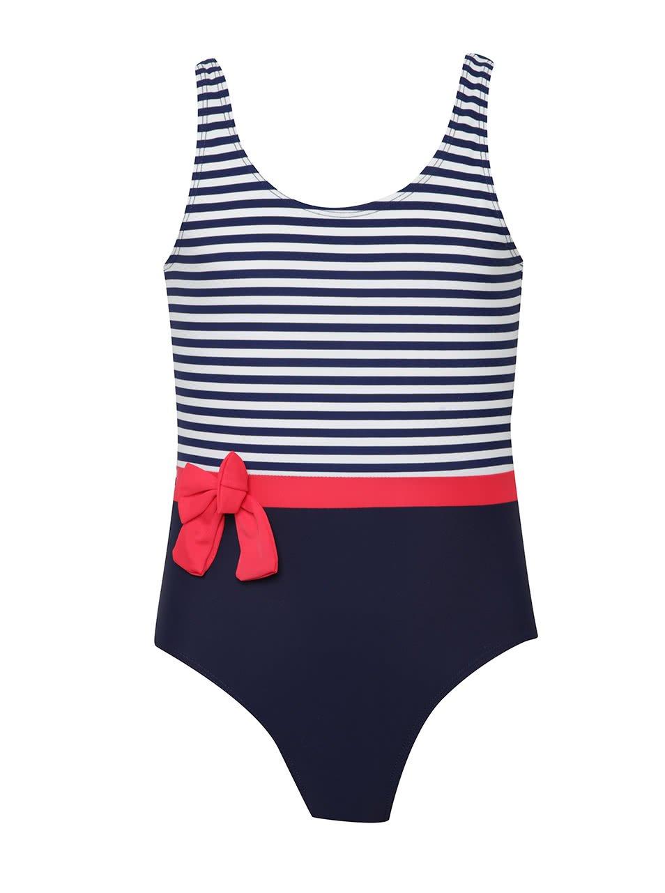 Bílo-modré holčičí pruhované plavky s červenou mašlí 5.10.15.