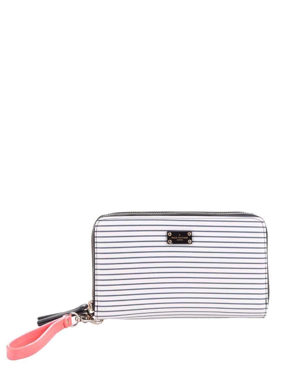 Černo-bílá velká peněženka s pruhovanou přední částí a poutkem Paul's Boutique Lilian