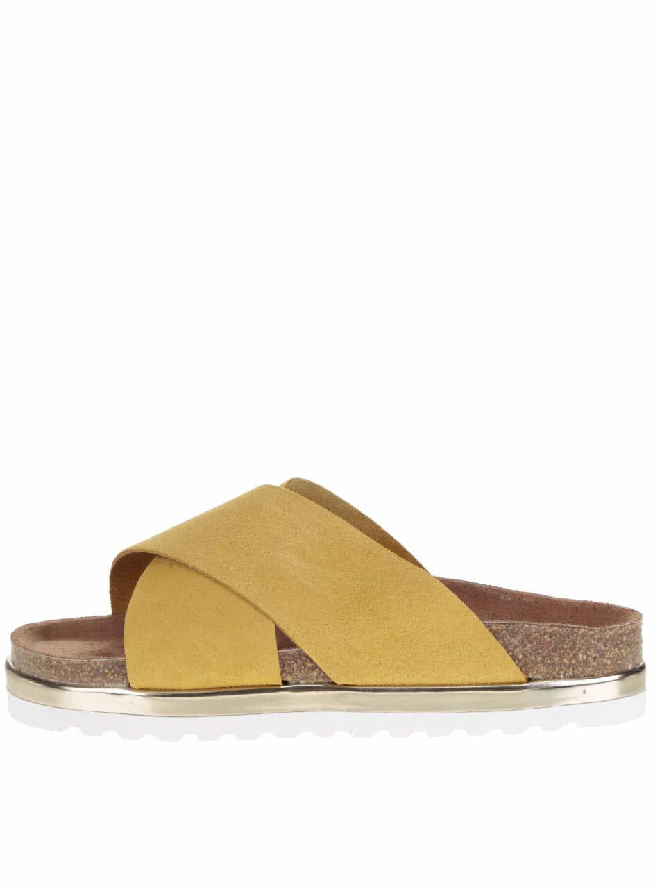 Žluté kožené pantofle na platformě VERO MODA Lise