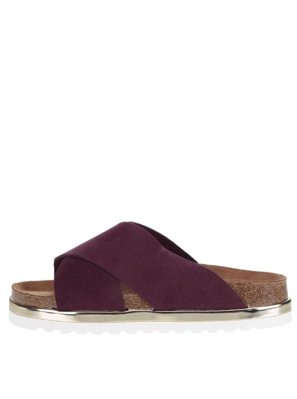 Vínové kožené pantofle na platformě VERO MODA Lise