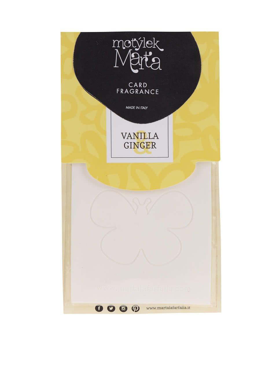 Krémová vonná karta do bytu Motýlek Marta Vanilla & Ginger