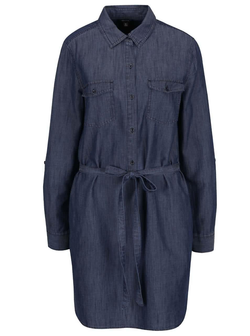 Tmavě modré volné džínové šaty Nautica
