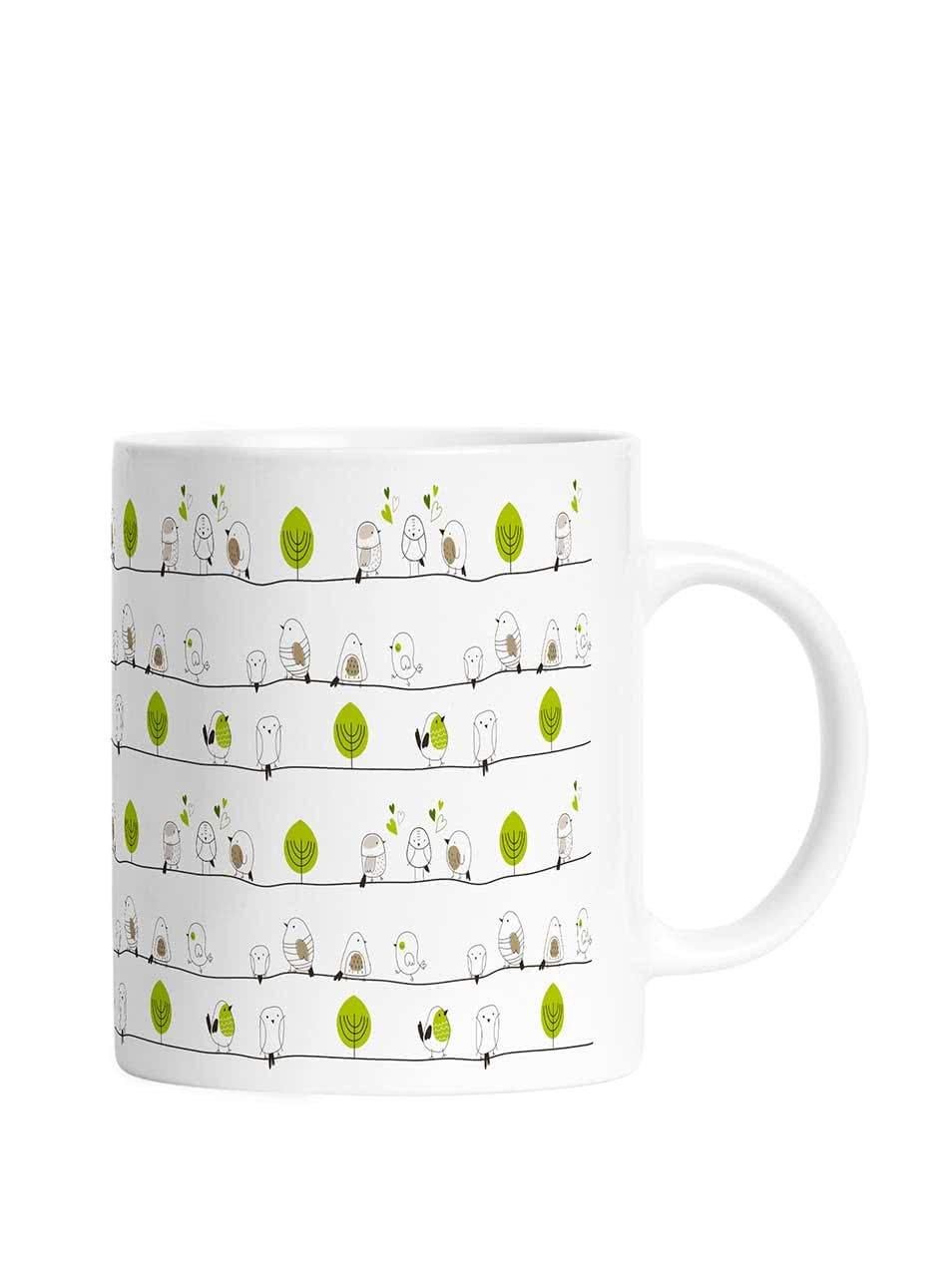 Zeleno-krémový hrnček s motívom vtáčikov Butter Kings