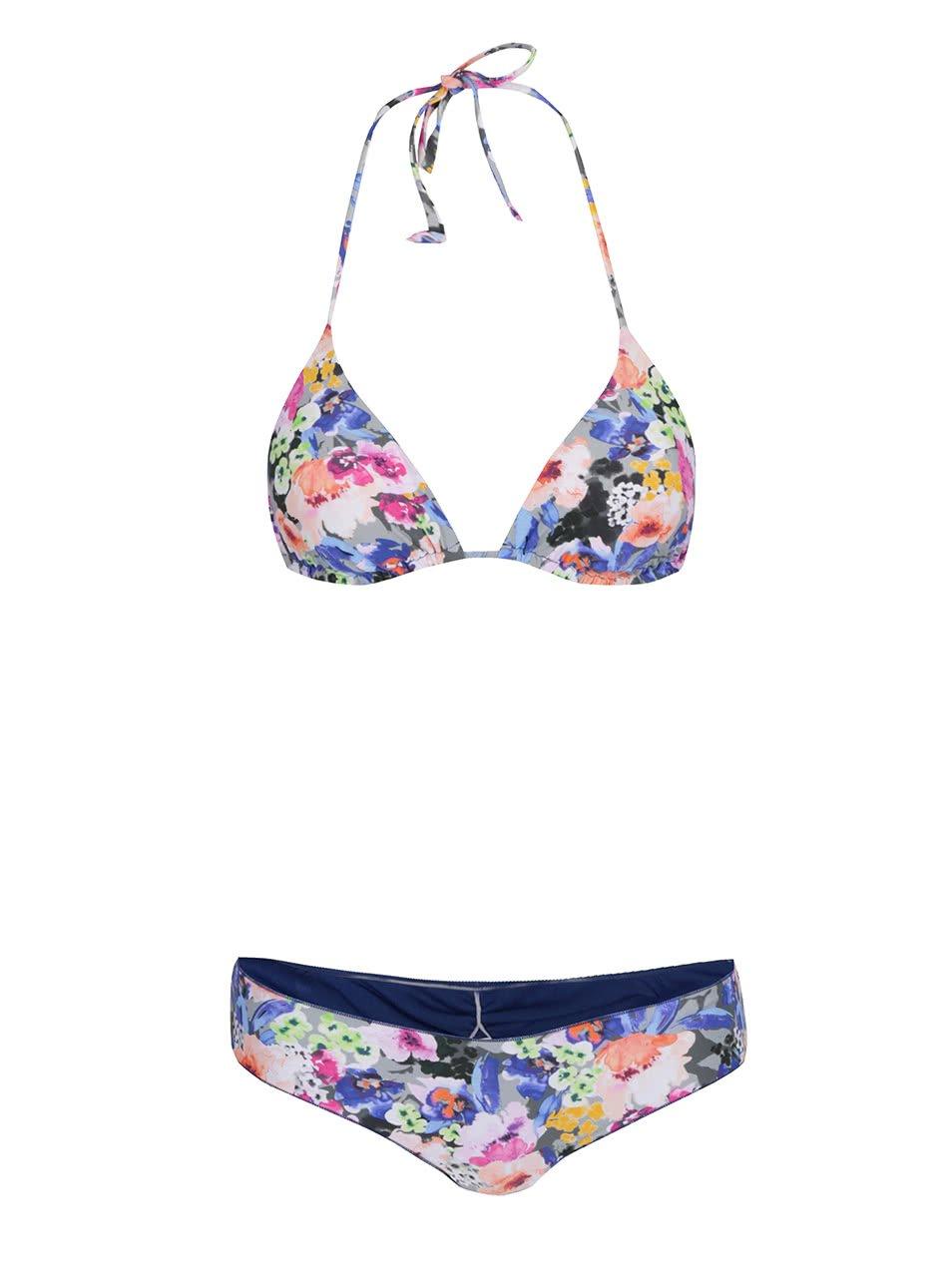 Modré dámské dvojdílné plavky s květinovým potiskem Rip Curl Baleare