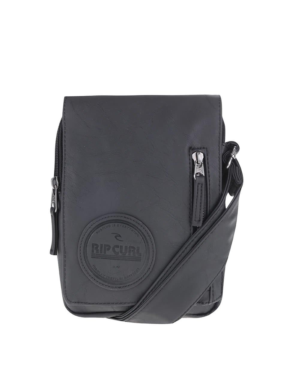 Černá koženková pánská crossbody taška Rip Curl Lezard Pouch