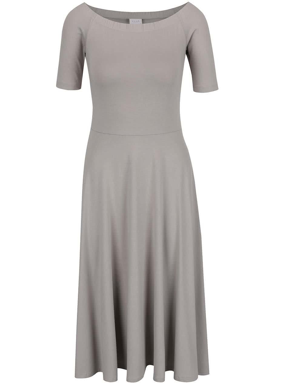 Šedé šaty s lodičkovým výstřihem VILA Saskia