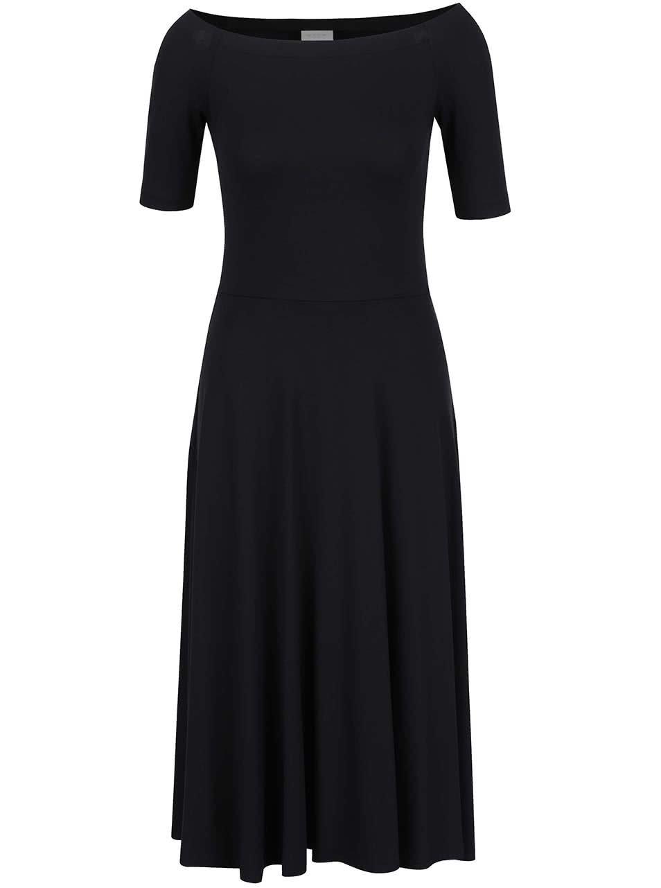 Černé šaty s lodičkovým výstřihem VILA Saskia