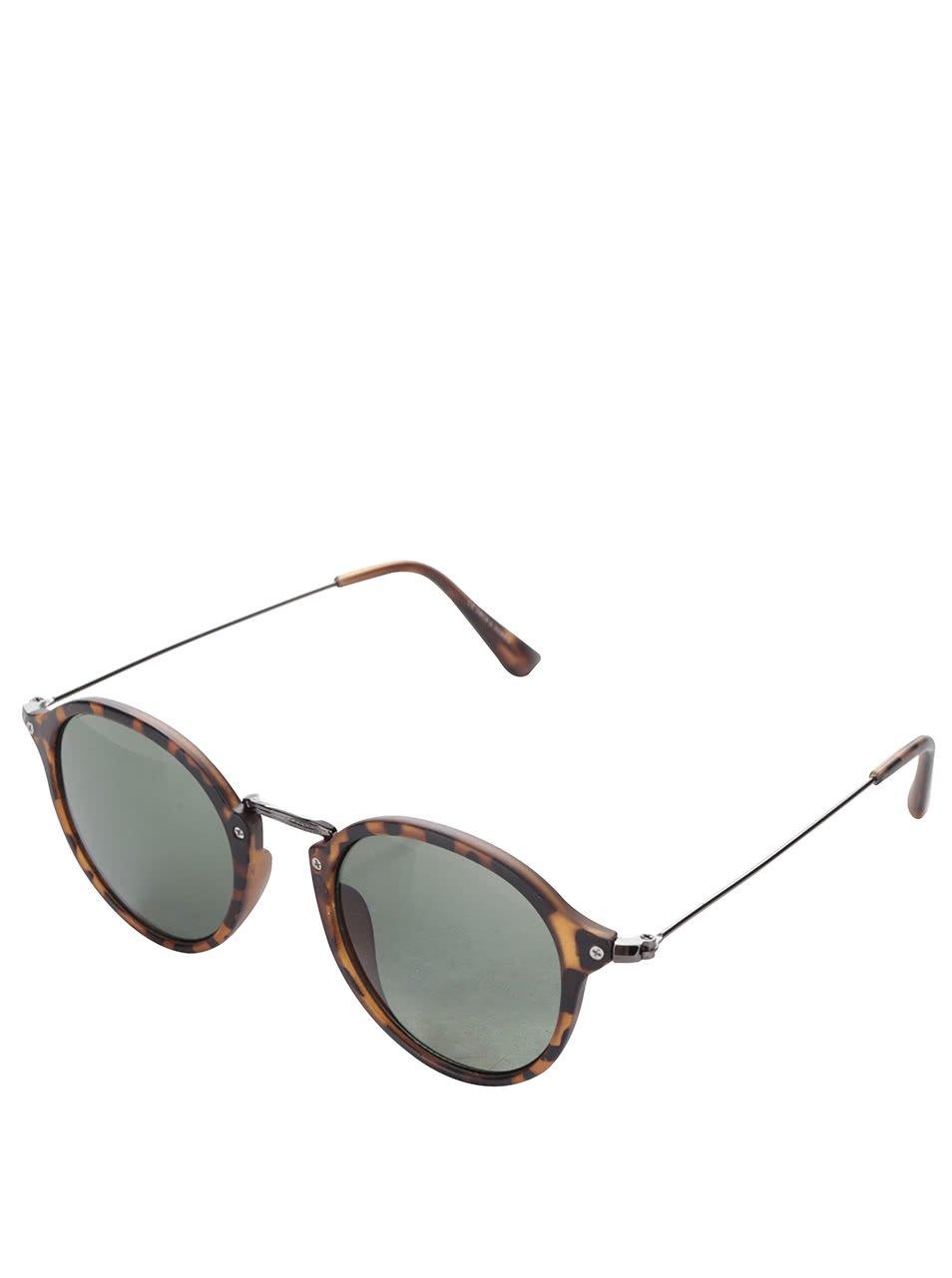 Hnědé žíhané pánské sluneční brýle Jack & Jones Brad I.