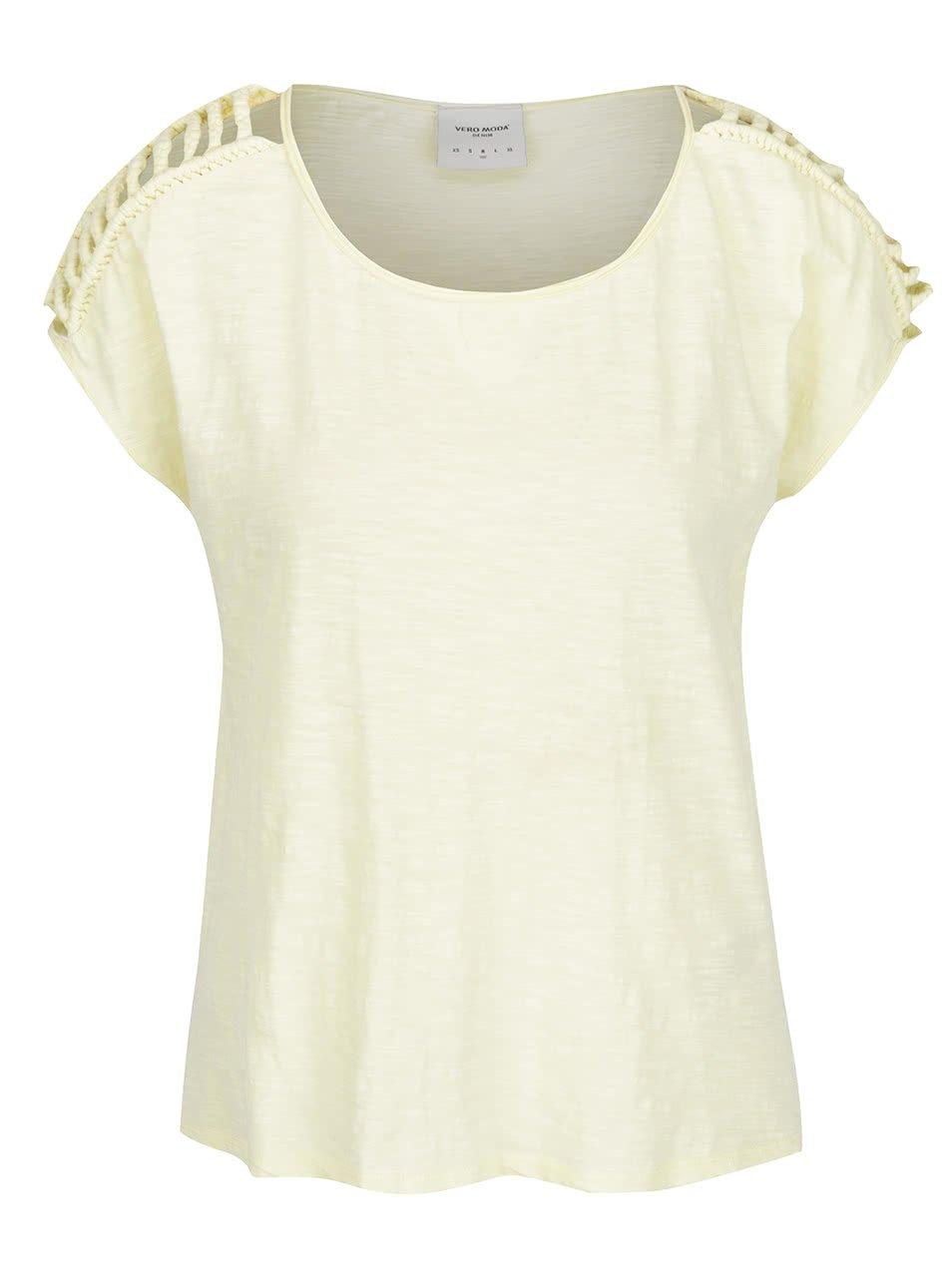 Světle žluté tričko se vzory na ramenou VERO MODA Braida