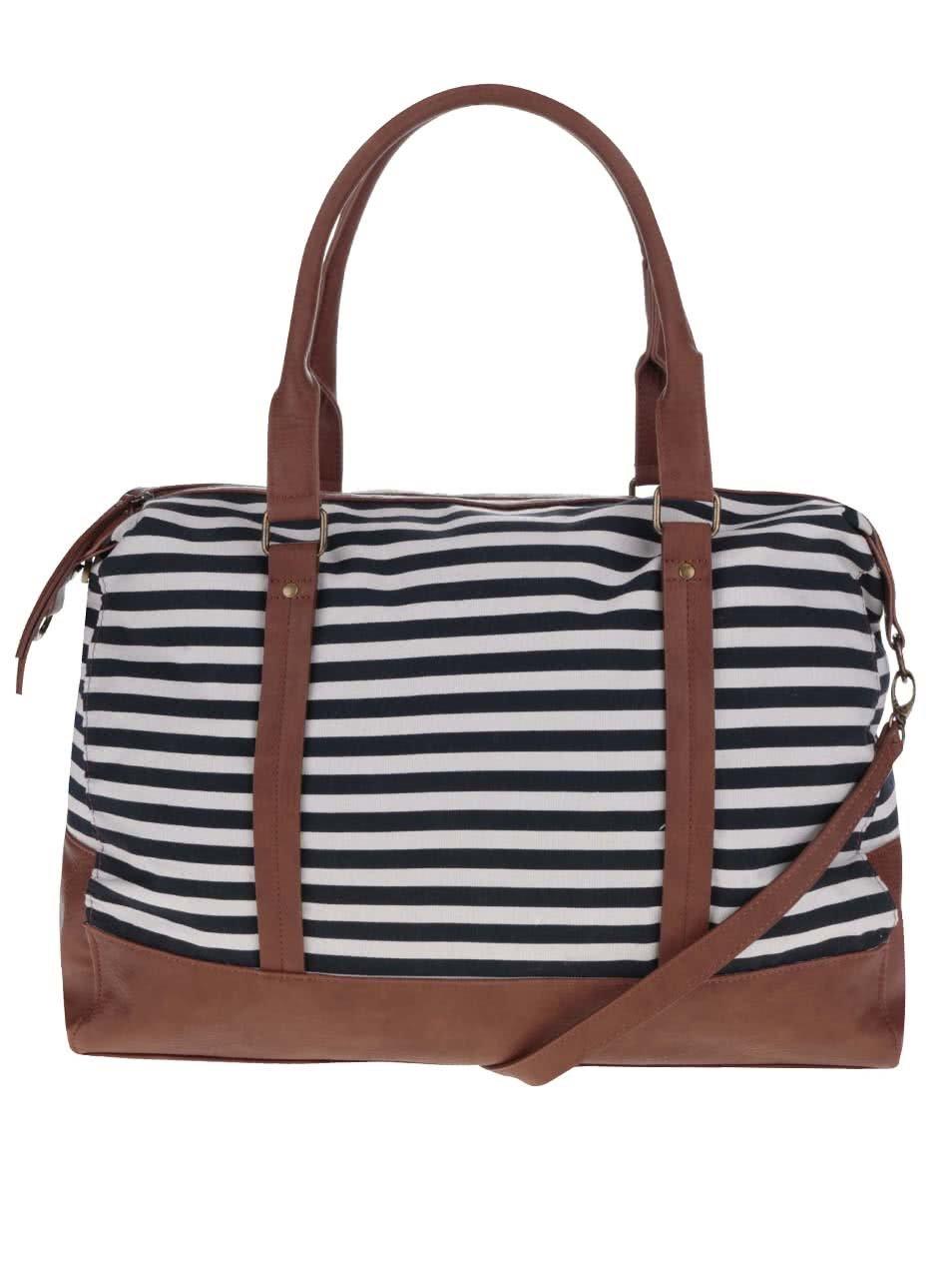 Modro-hnědá pruhovaná taška Pieces Luisa