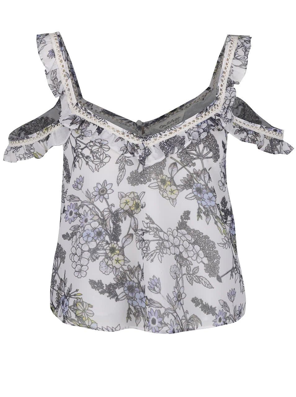 Bílý květovaný crop top s odhalenými rameny Miss Selfridge
