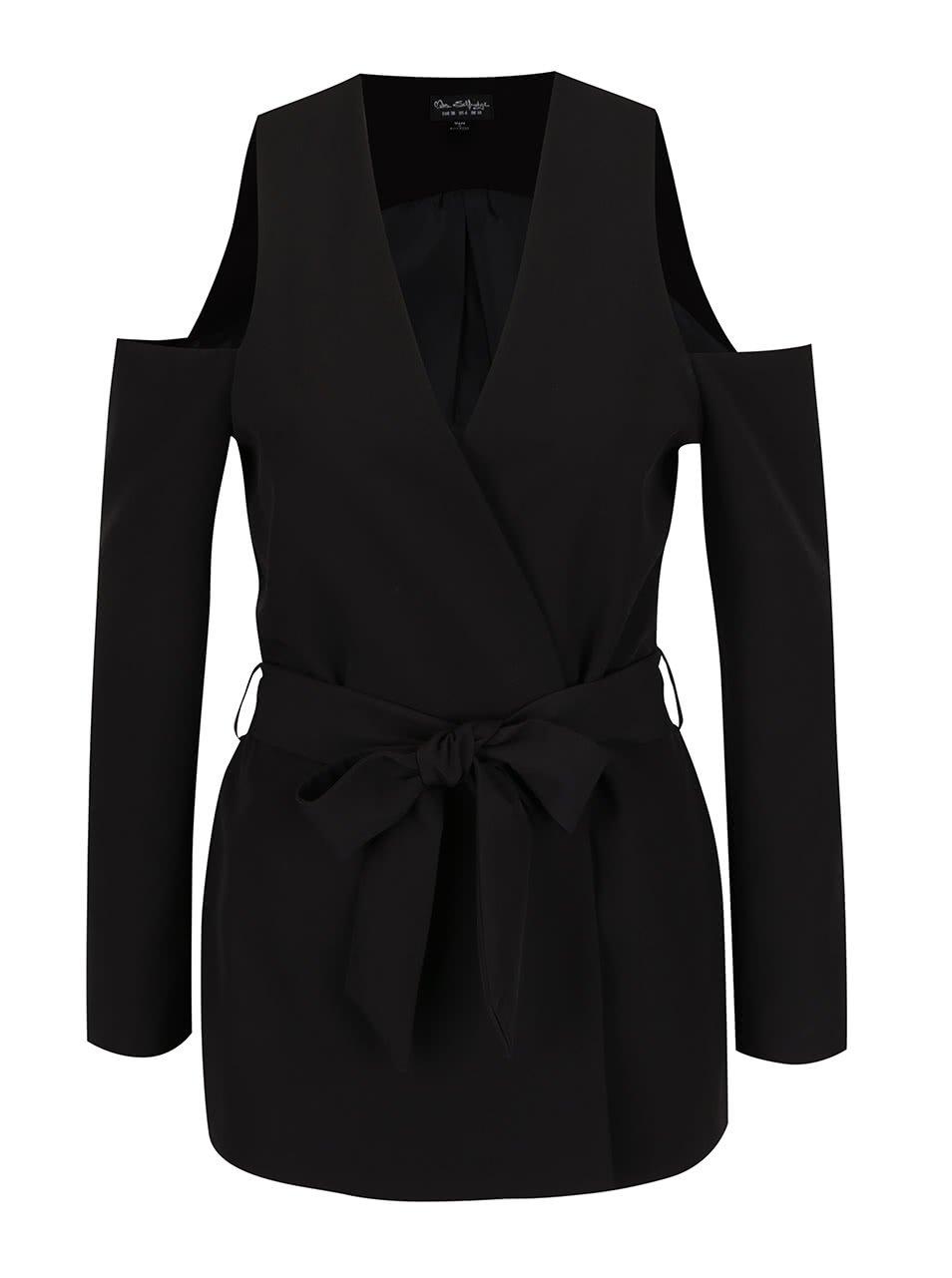 Čierne sako s prestrihmi na ramenách Miss Selfridge