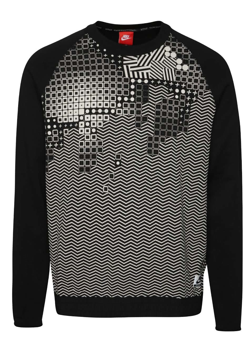 Krémovo-černá pánská vzorovaná mikina Nike