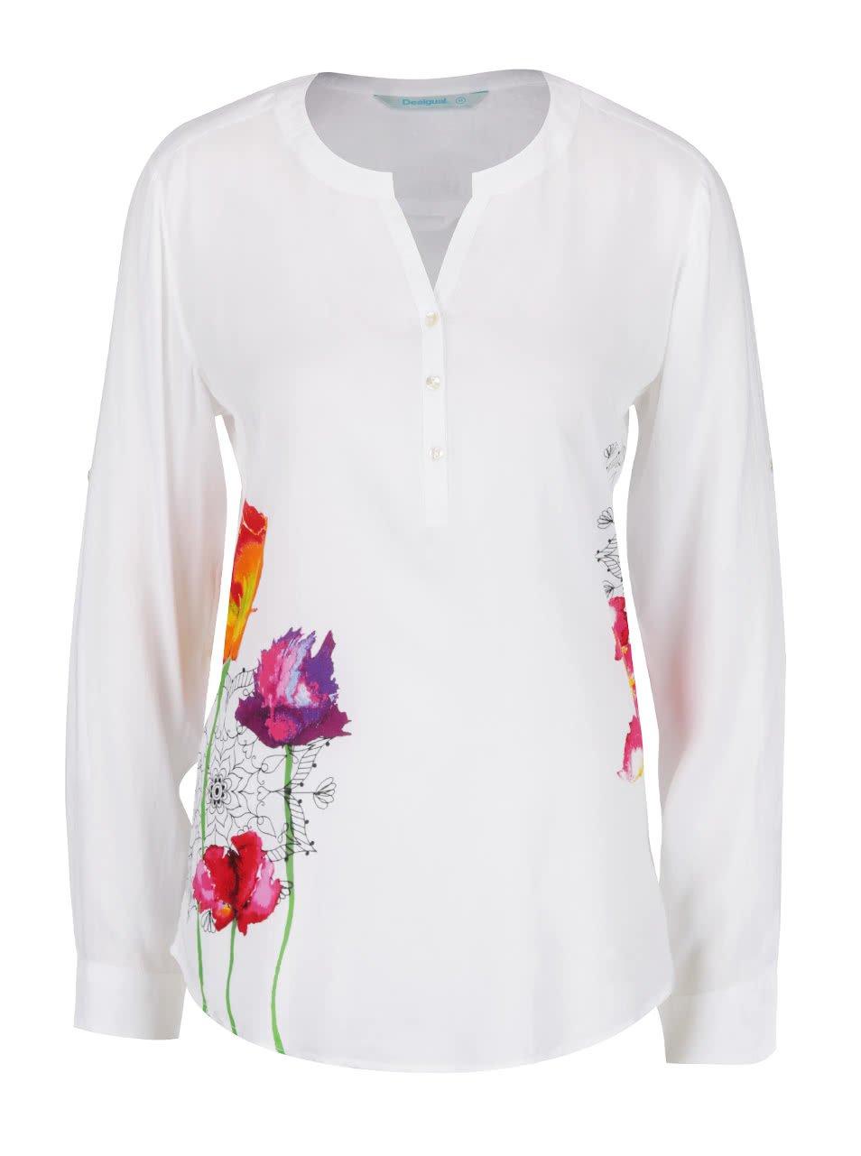 Bílá halenka s potiskem květin Desigual Olga
