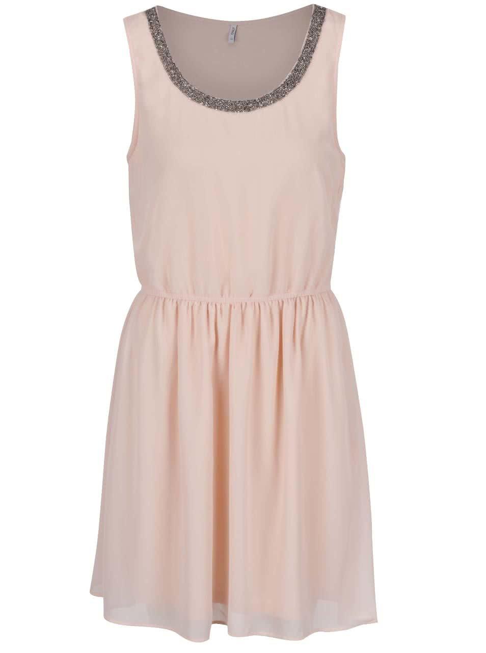 Starorůžové šaty s detailem ve stříbrné barvě ONLY Thea