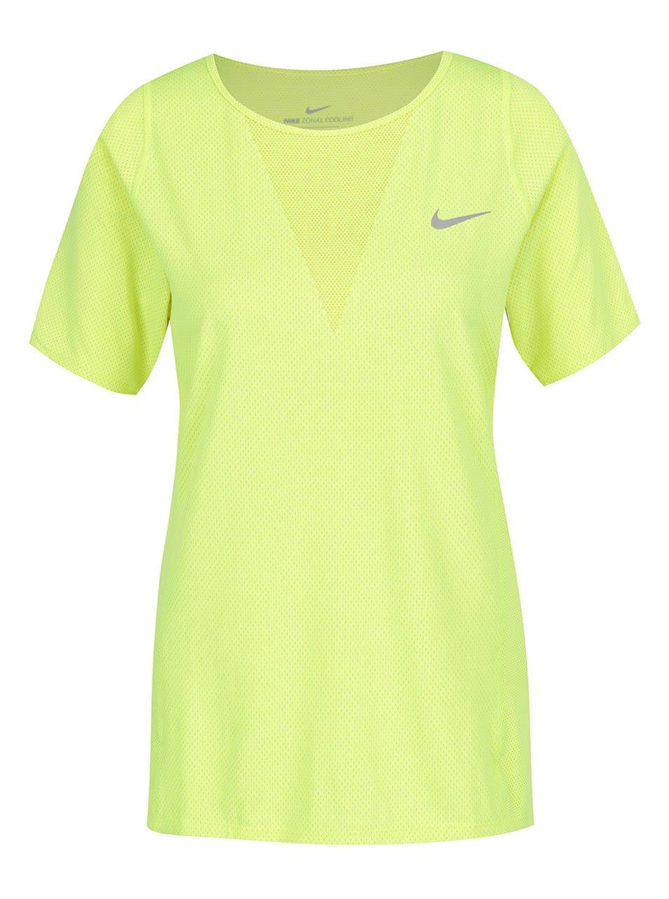 Neonově žluté dámské funkční tričko Nike Zonal Cooling Relay