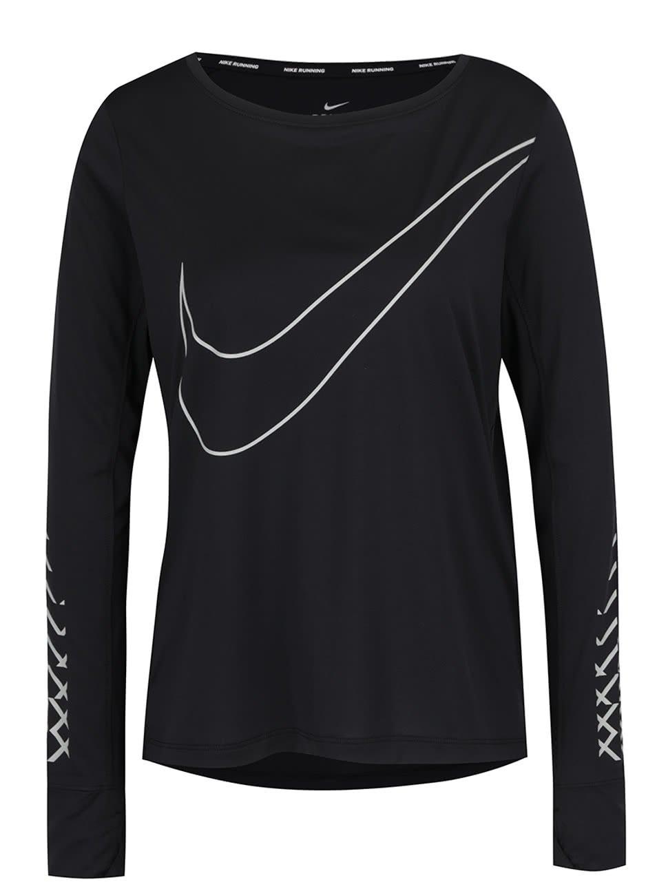 Černé dámské funkční tričko s potiskem Nike Breathe