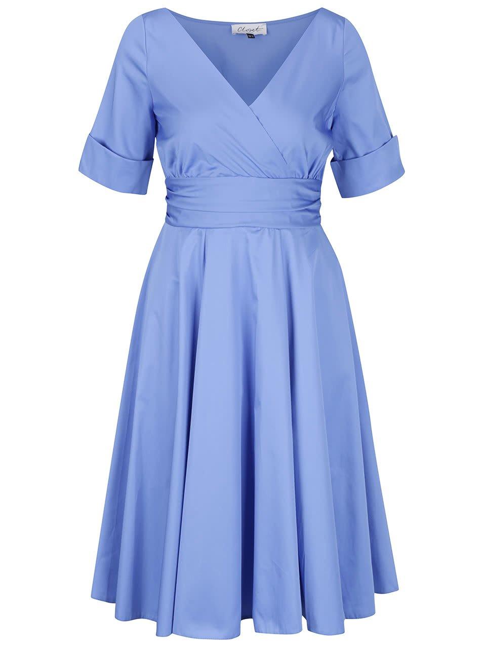 Modré šaty s překládaným výstřihem Closet