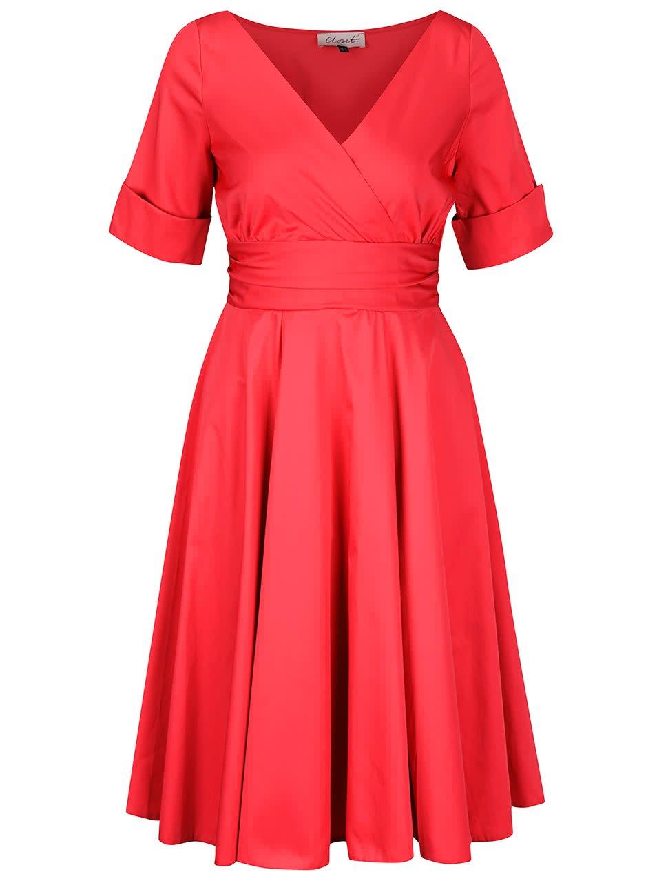 Červené šaty s překládaným výstřihem Closet