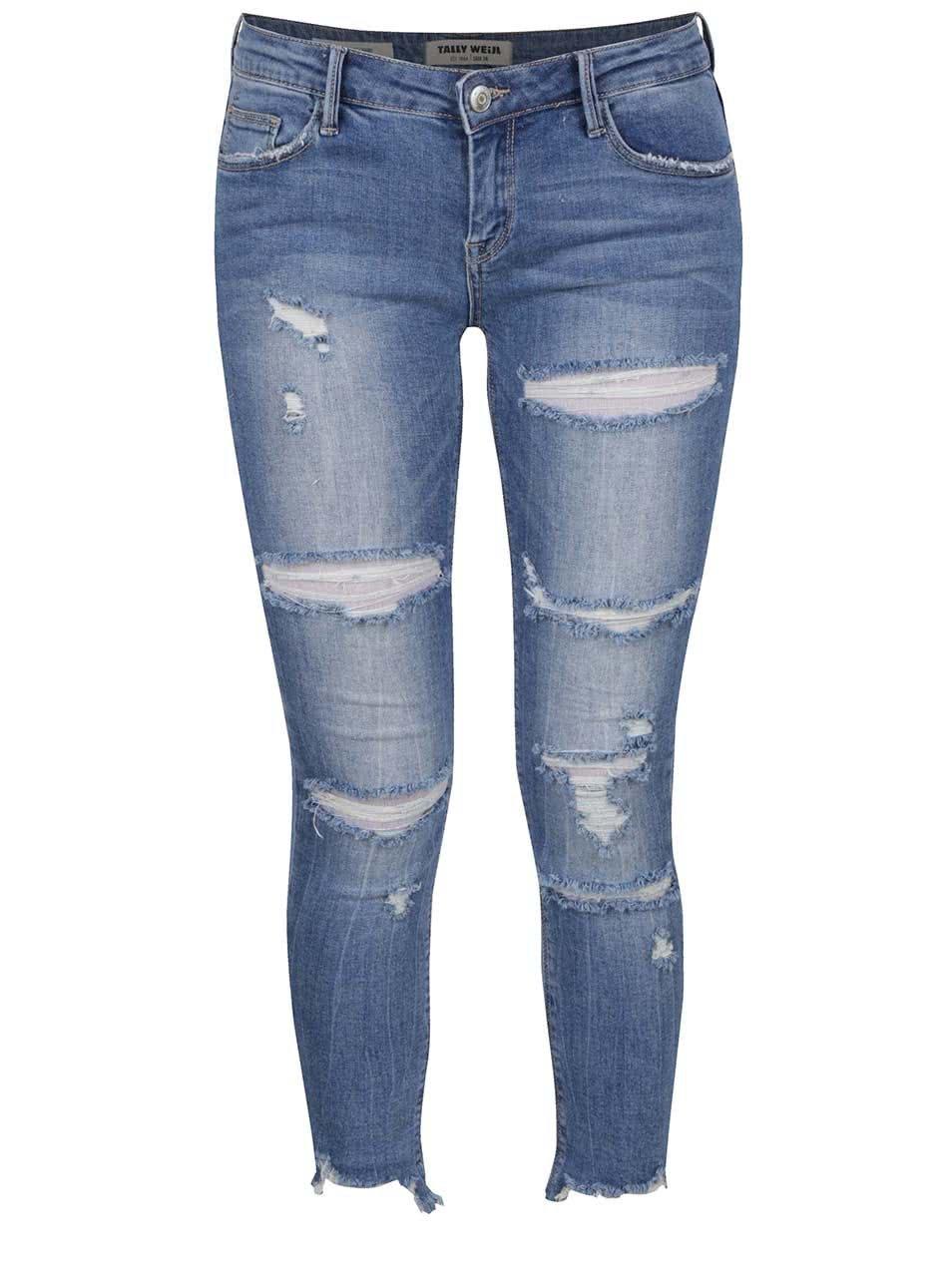 0085d657f33 Světle modré zkrácené džíny s potrhaným efektem TALLY WEiJL - Akční ...