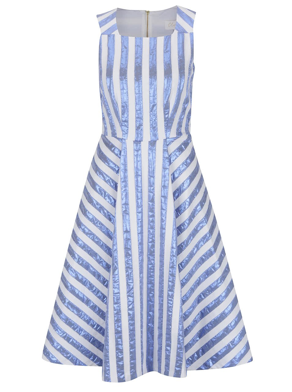 Krémové šaty s lesklými modrými pruhy Closet