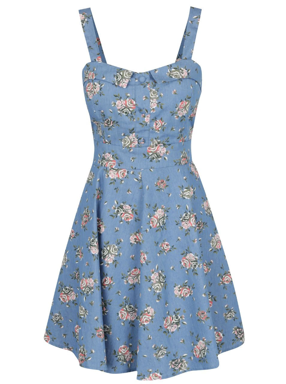 Modré květované šaty s mašlí na zádech Apricot
