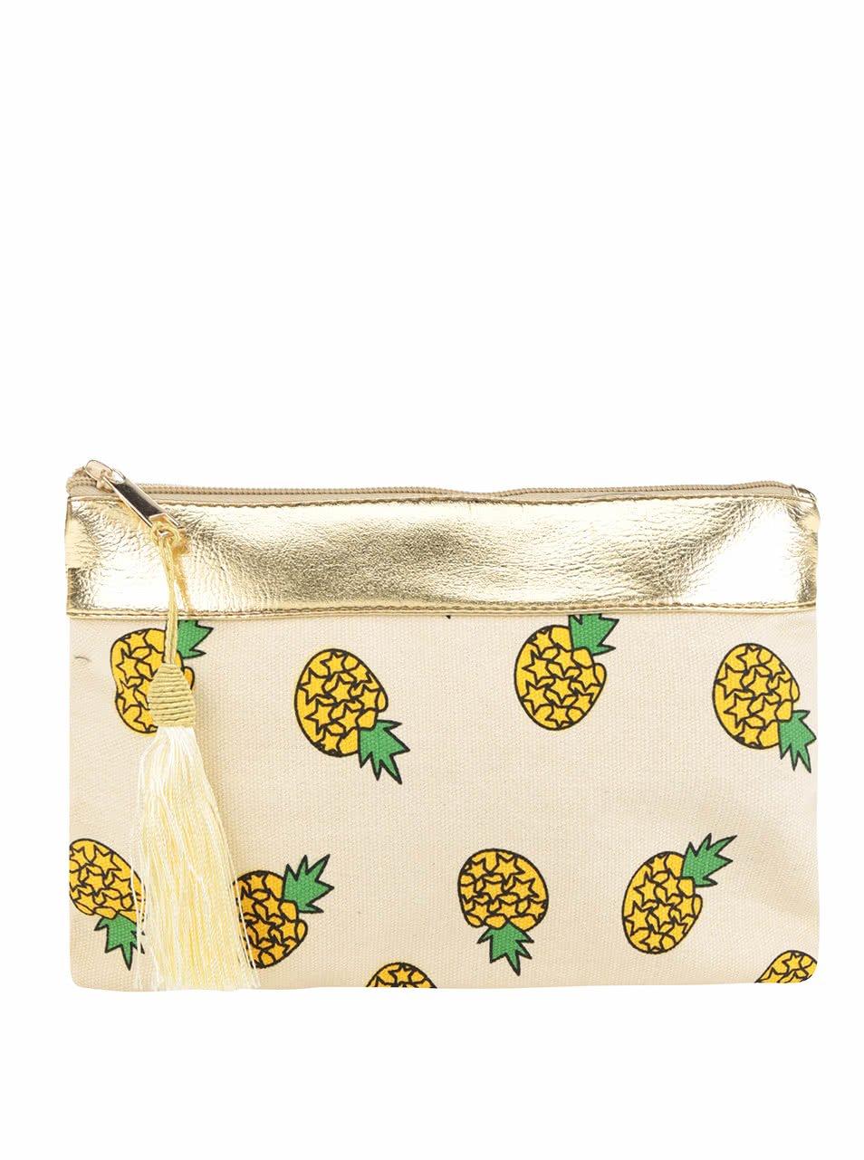 Béžová kosmetická taštička s motivem ananasů Haily's Betty