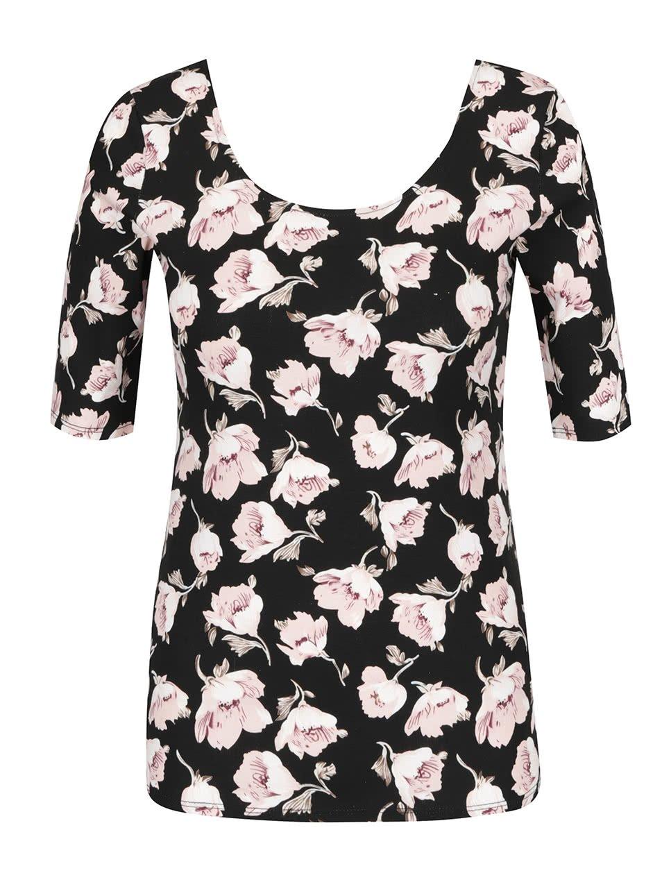 Černé tričko s 3/4 rukávem a potiskem květin Haily's Rachel