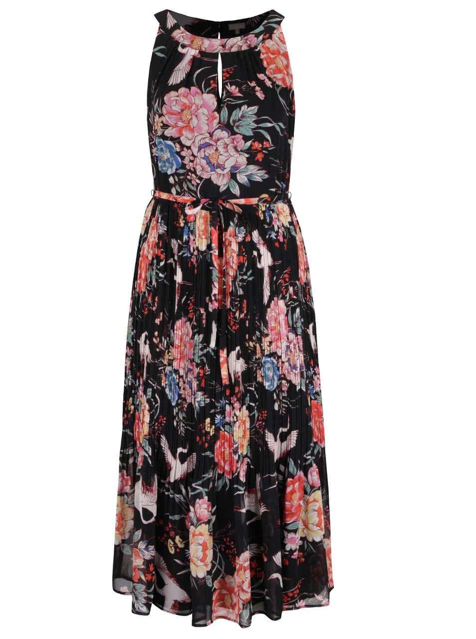 Černé květované maxišaty s plisovanou sukní M&Co