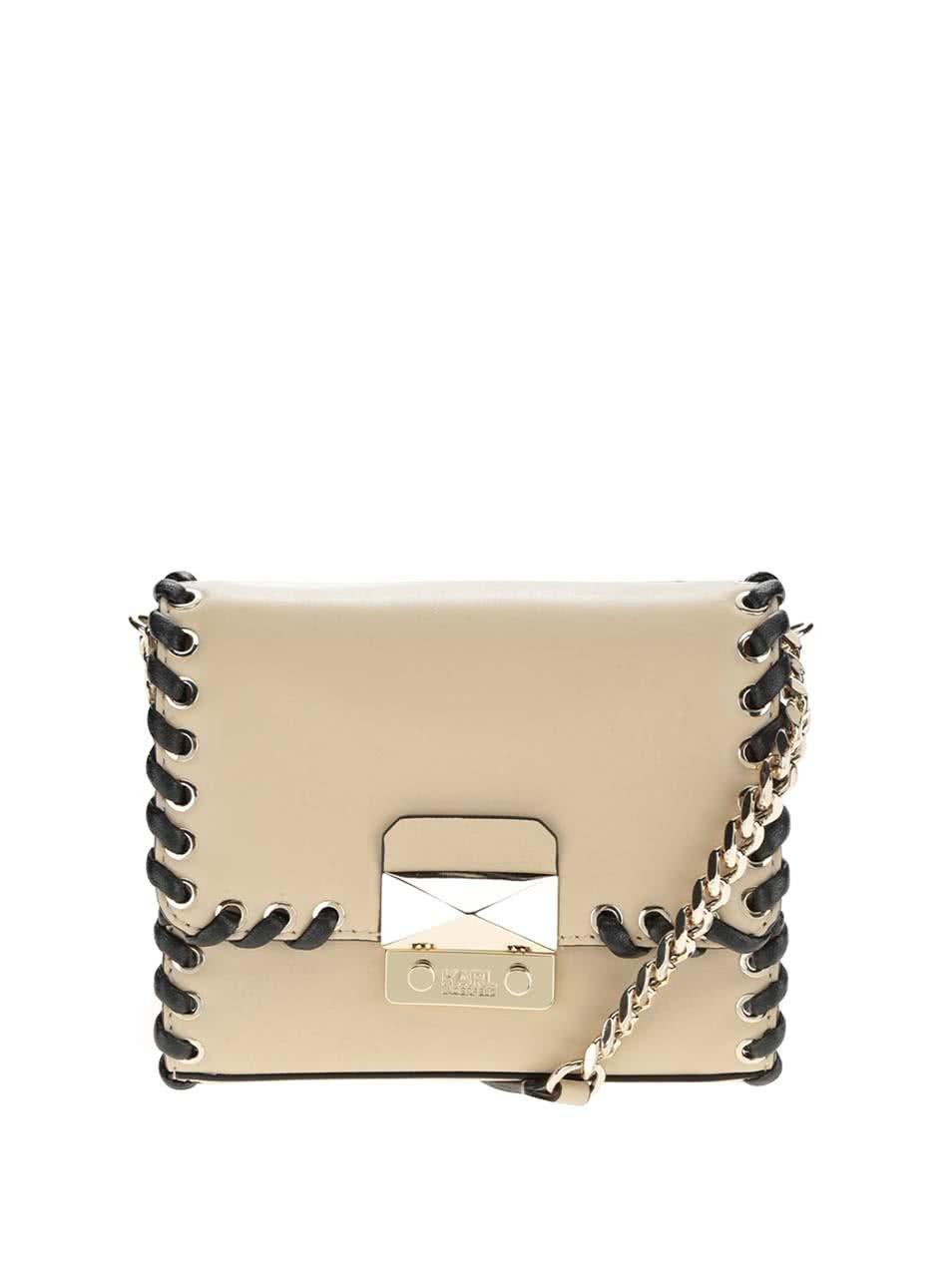Béžová malá kožená crossbody kabelka s detaily ve zlaté barvě KARL LAGERFELD