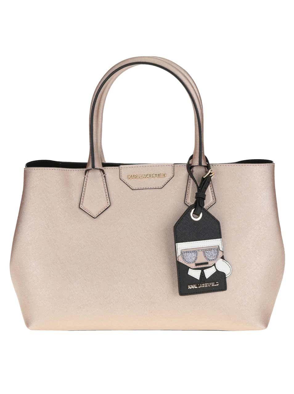 Růžová kožená kabelka s metalickými odlesky KARL LAGERFELD