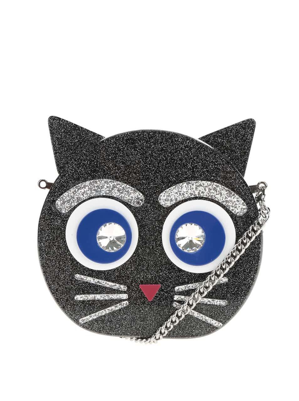 Černé kulaté třpytivé plastové psaníčko s motivem kočky KARL LAGERFELD