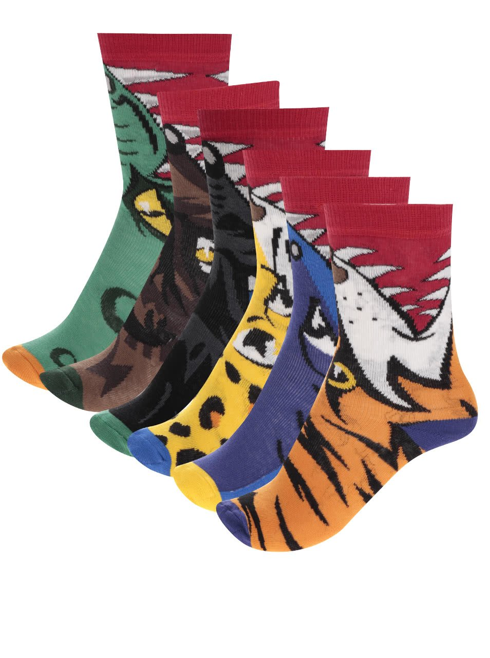 Sada šesti klučičích ponožek s motivy predátorů Oddsocks Snappers