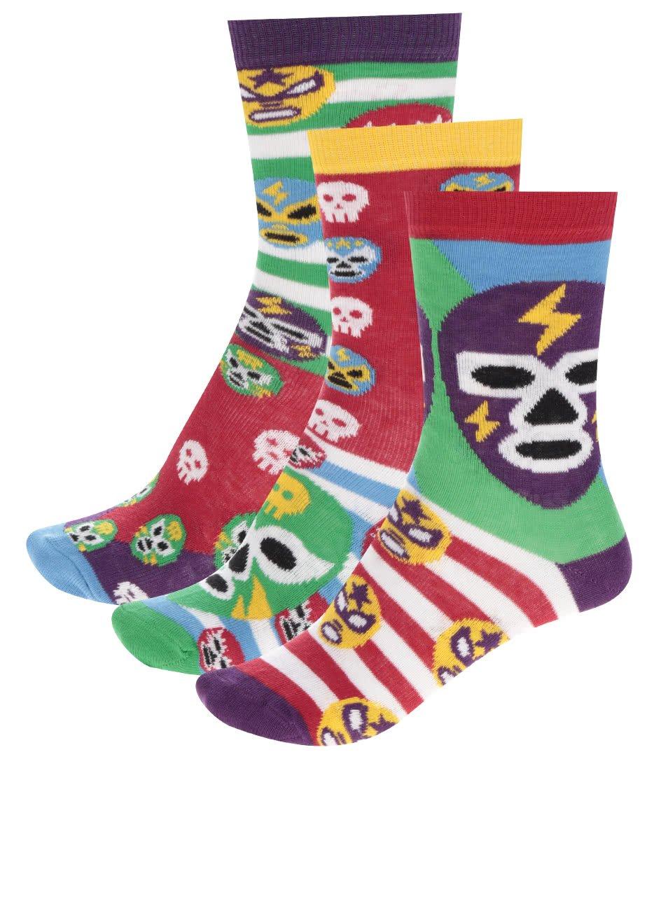 Sada  klučičích ponožek s motivem lebek a masek Oddsocks Mask