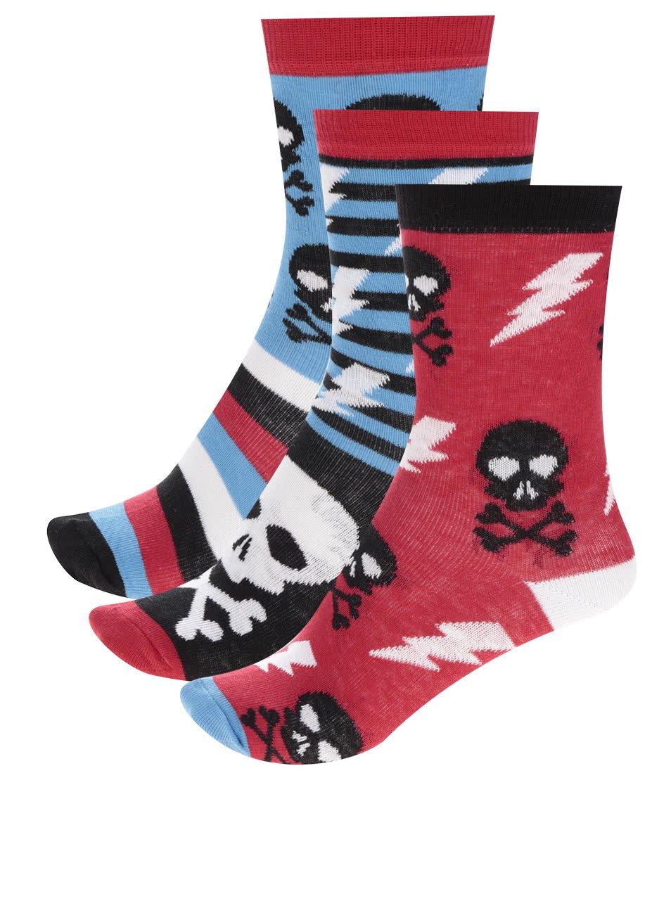 Súprava troch chlapčenských ponožiek s motívom lebky Oddsocks Skulls