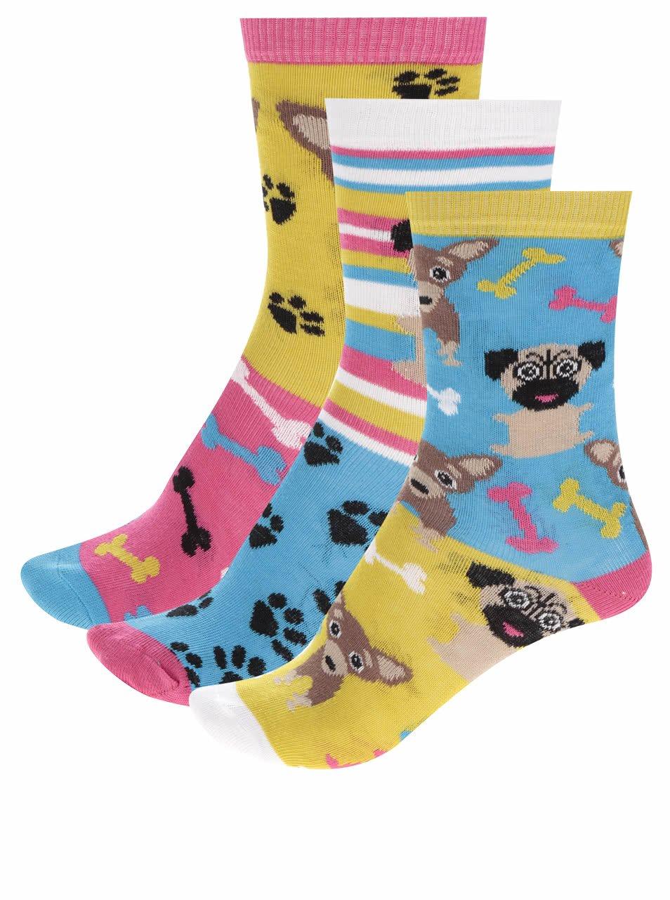 Sada tří holčičích ponožek s motivem psů Oddsocks Pugs