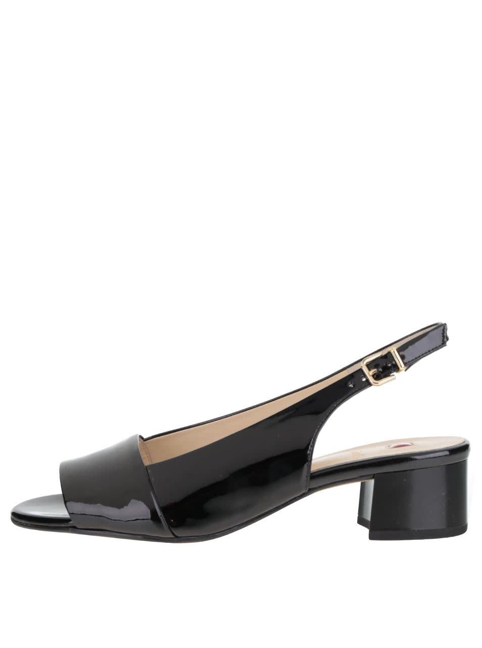 Černé kožené lesklé sandálky na podpatku Högl