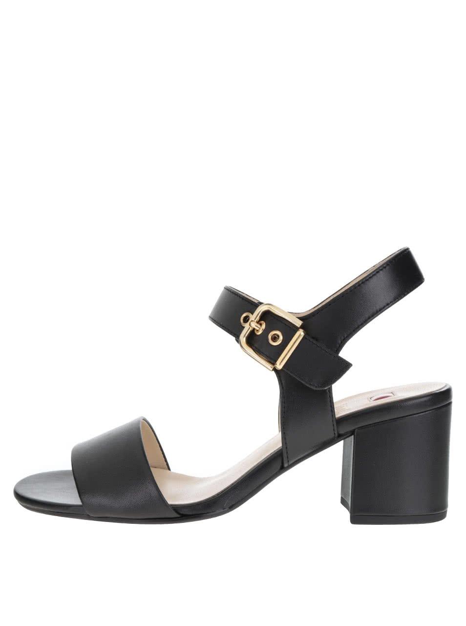 Černé kožené sandálky na podpatku Högl