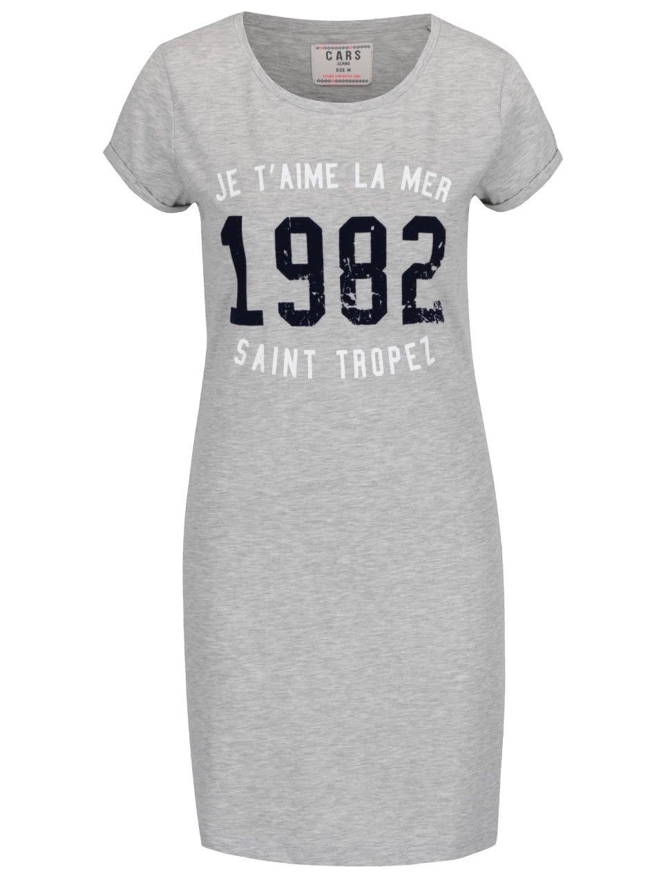 Šedé žíhané dlouhé dámské tričko s potiskem Cars Tropez