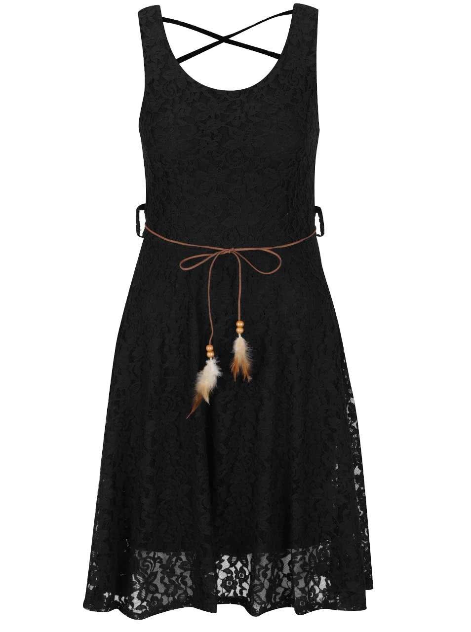 Černé krajkové šaty s páskem Haily's Macy