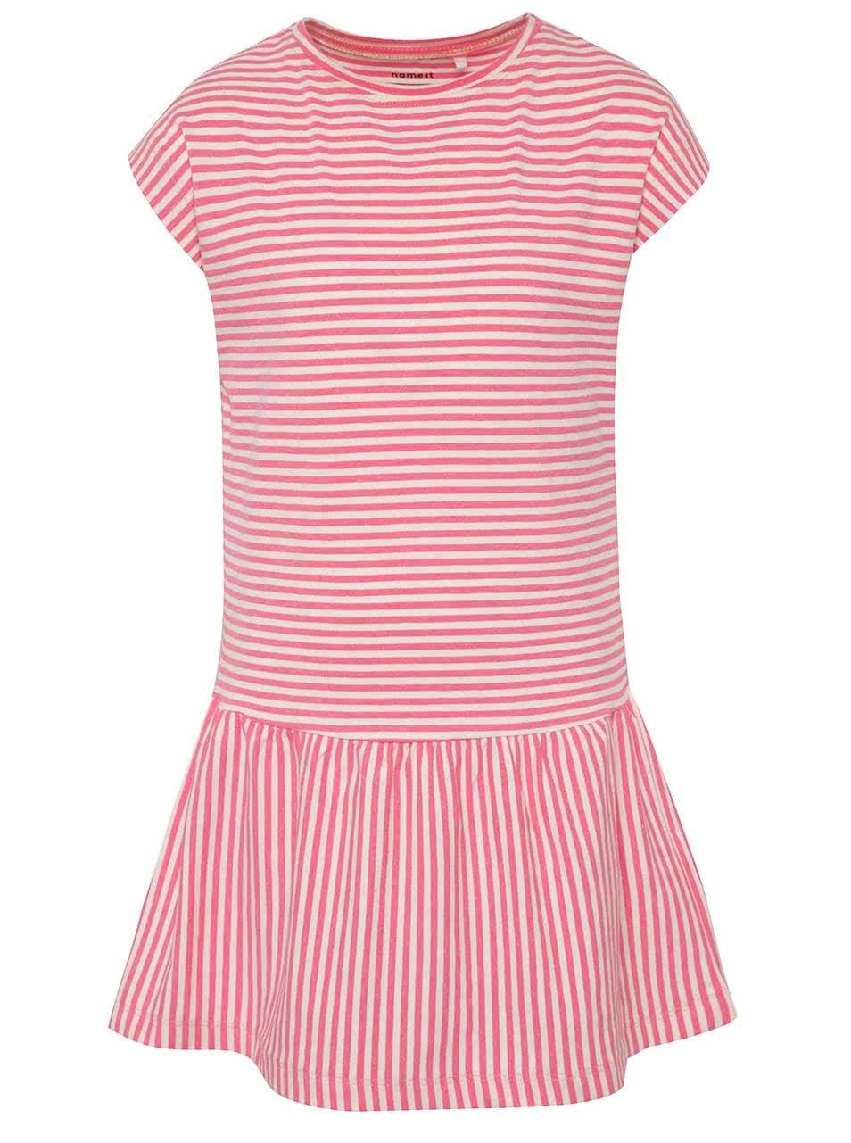 Růžové holčičí pruhované šaty name it Inger
