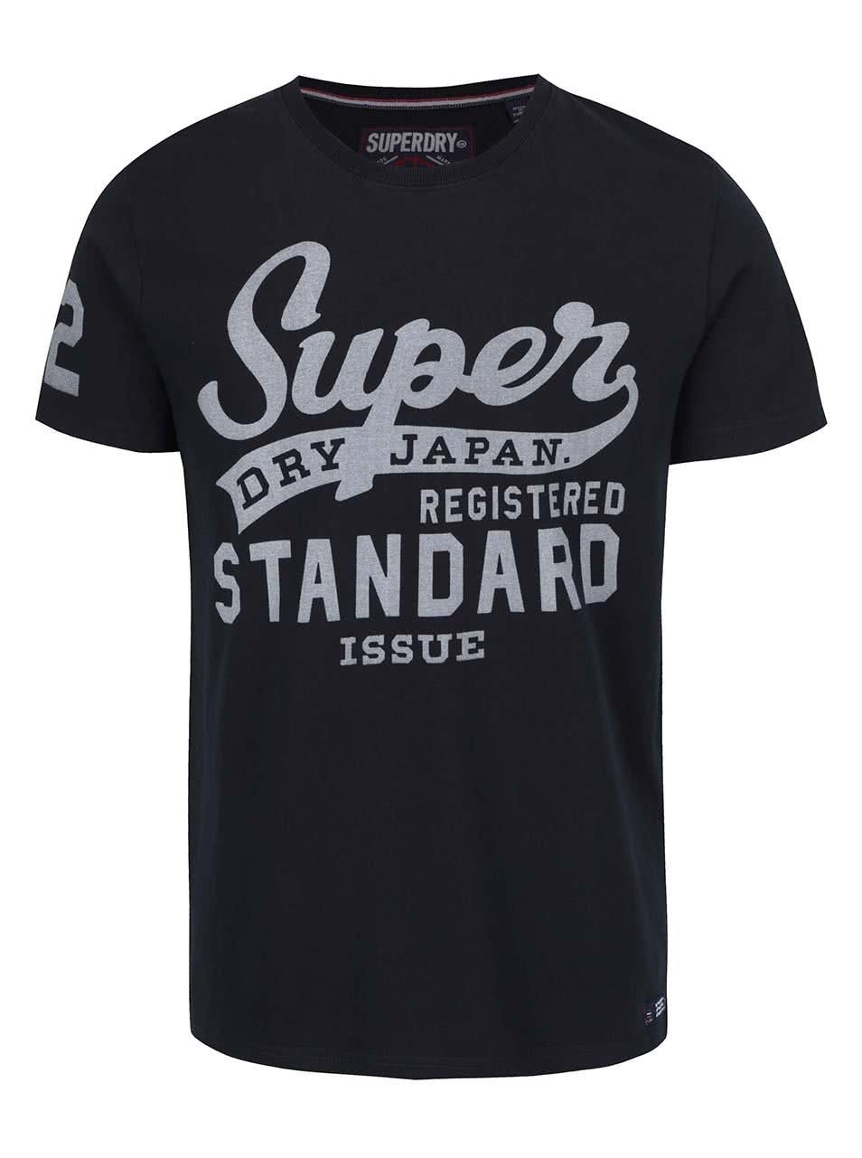 Černé pánské triko s potiskem Superdry
