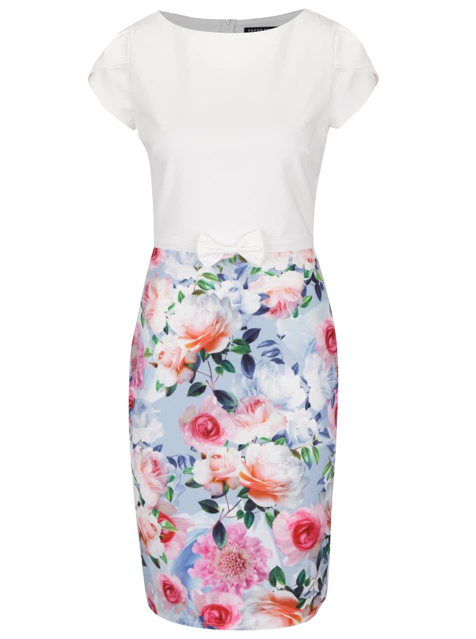 Krémové šaty s kvetovanou sukňou Paper Dolls